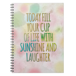 Fill Your Cup Of Life Watercolor MotivationalQuote Notebook