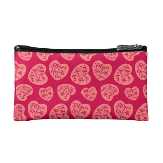 Fill your life with love - Hand Lettering Design Makeup Bag