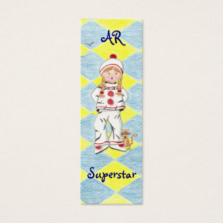 Fille en Pierrot  with background tiny bookmark Mini Business Card