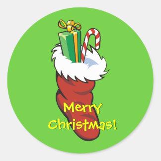 Filled Santa Stocking Classic Round Sticker