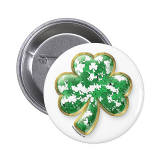 Filled with Luck Shamrock Pinback Button