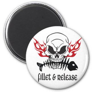 Fillet & Release Skull 2 Inch Round Magnet