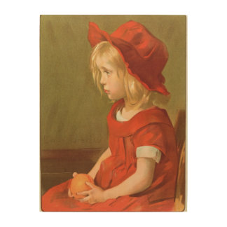 Fillette un l'orange cuadros de madera