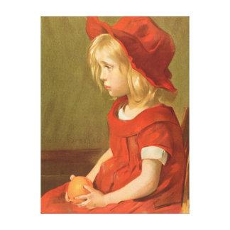 Fillette un l'orange impresión en tela