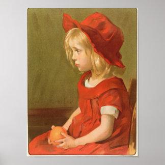 Fillette un l'orange póster