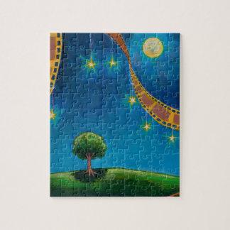 Film art night sky tree stars for movie buffs jigsaw puzzle