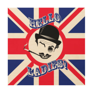 "Film Cad's Union Jack ""Hello Ladies!"" Wood Wall Art"