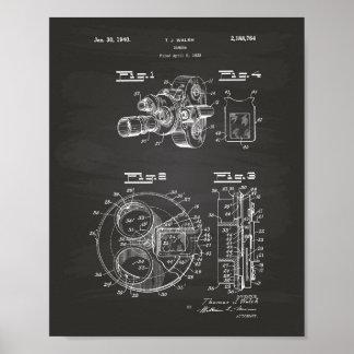 Film Camera 1940 Patent Art - Chalkboard Poster