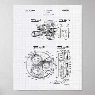 Film Camera 1940 Patent Art - Lined Peper Poster
