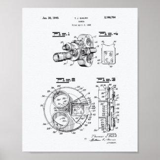 Film Camera 1940 Patent Art - White Paper Poster