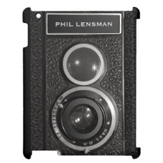 Film Camera Black Vintage Your Name iPad Case at Zazzle
