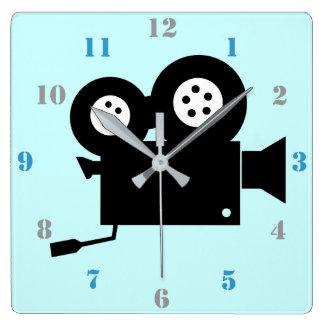 FILM CAMERA DESIGN WITH NUMERALS SQUARE WALL CLOCK