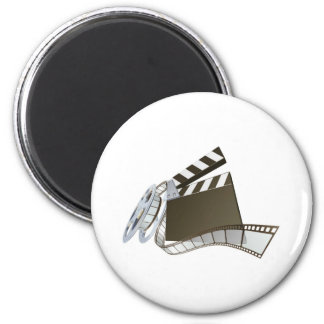 Film clapperboard and movie film reel magnet