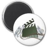 Film clapperboard and movie film reels fridge magnet