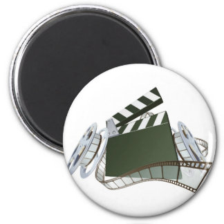 Film clapperboard and movie film reels magnet