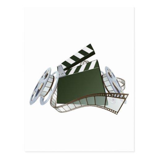 Film clapperboard and movie film reels postcard