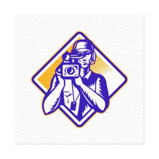 Film  Crew Cameraman Holding Camera Retro Gallery Wrap Canvas