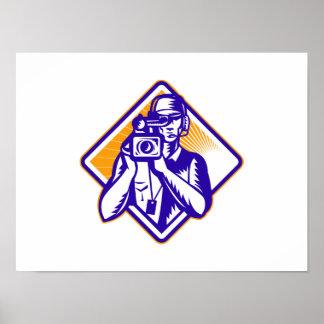 Film  Crew Cameraman Holding Camera Retro Posters