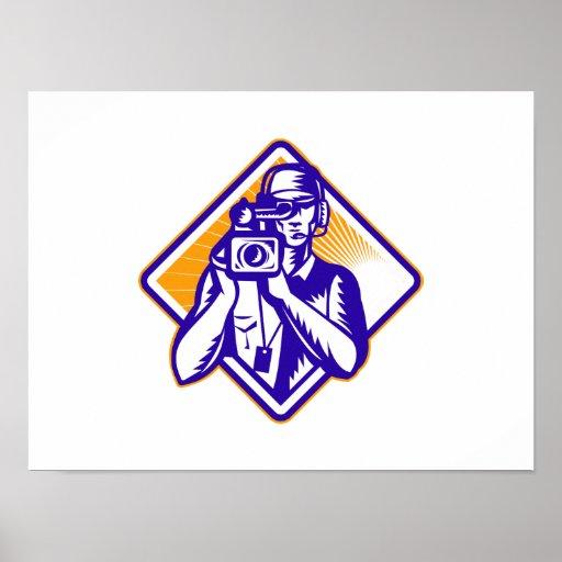 Film  Crew Cameraman Holding Camera Retro Poster
