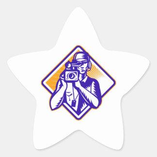 Film  Crew Cameraman Holding Camera Retro Star Sticker