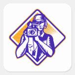 Film  Crew Cameraman Holding Camera Retro Square Sticker