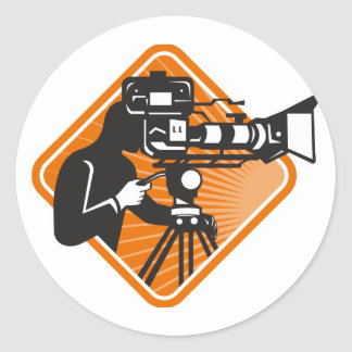film crew cameraman shooting filming camera classic round sticker