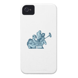 Film Crew Clapperboard Cameraman Soundman Drawing iPhone 4 Case-Mate Case