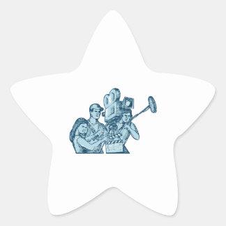 Film Crew Clapperboard Cameraman Soundman Drawing Star Sticker