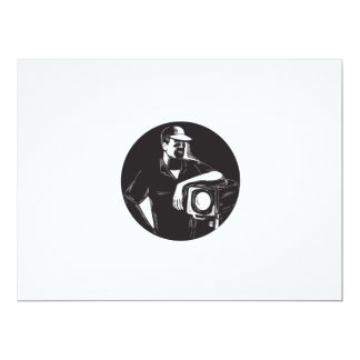 Film Crew Lighting Fresnel Spotlight Circle Woodcu Card