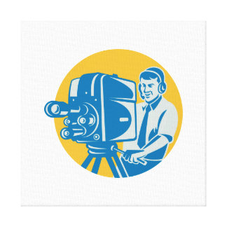 Film  Crew TV Cameraman With Movie Camera Retro Gallery Wrap Canvas
