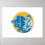 Film  Crew TV Cameraman With Movie Camera Retro Poster