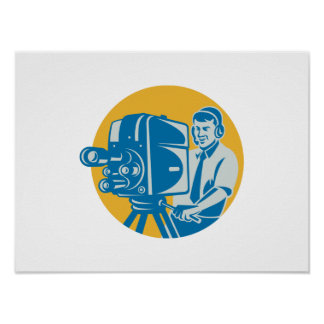 Film  Crew TV Cameraman With Movie Camera Retro Print