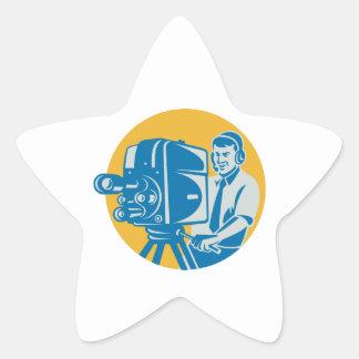 Film  Crew TV Cameraman With Movie Camera Retro Star Sticker