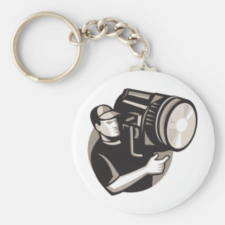 film crew with spotlight fresnel light basic round button keychain