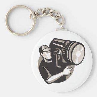 film crew with spotlight fresnel light keychain