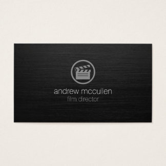 Film Director Clapperboard Icon Dark Brushed Metal Business Card