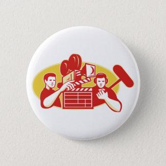 Film Director Movie Camera Clapper Soundman Pinback Button