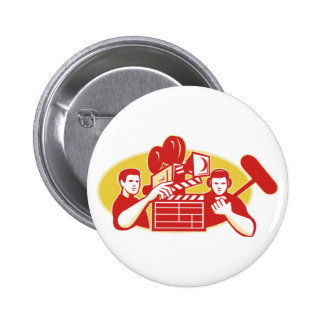 Film Director Movie Camera Clapper Soundman Pinback Button