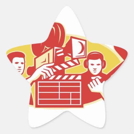 Film Director Movie Camera Clapper Soundman Star Sticker