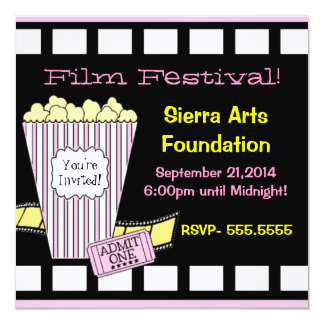 Film Festival Yellow and Pink Popcorn Film Strip Card