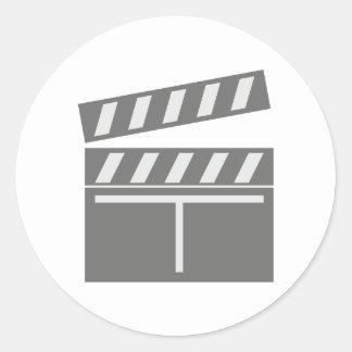 Film flap folds clapperboard classic round sticker