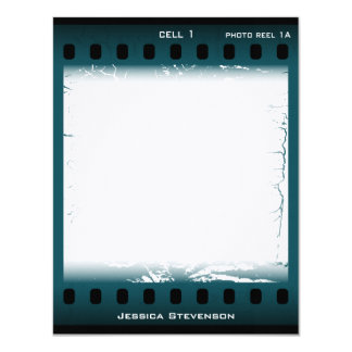 Film Flat Note Card (teal) Personalized Invitation