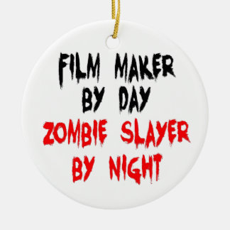 Film Maker Zombie Slayer Double-Sided Ceramic Round Christmas Ornament