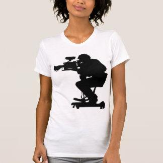 Film Makers Silhouette white v neck womens tshirt