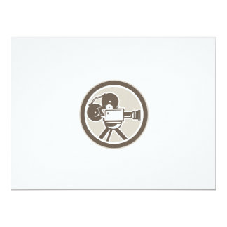 Film Movie Camera Vintage Circle Retro 6.5x8.75 Paper Invitation Card