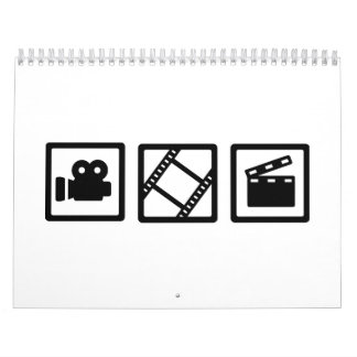 Film movie reel clapper camera calendar
