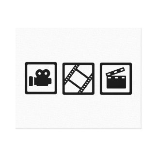 Film movie reel clapper camera gallery wrapped canvas