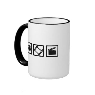 Film movie reel clapper camera coffee mug