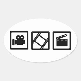 Film movie reel clapper camera oval sticker