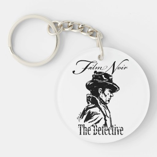 Film Noir Detective Single-Sided Round Acrylic Keychain